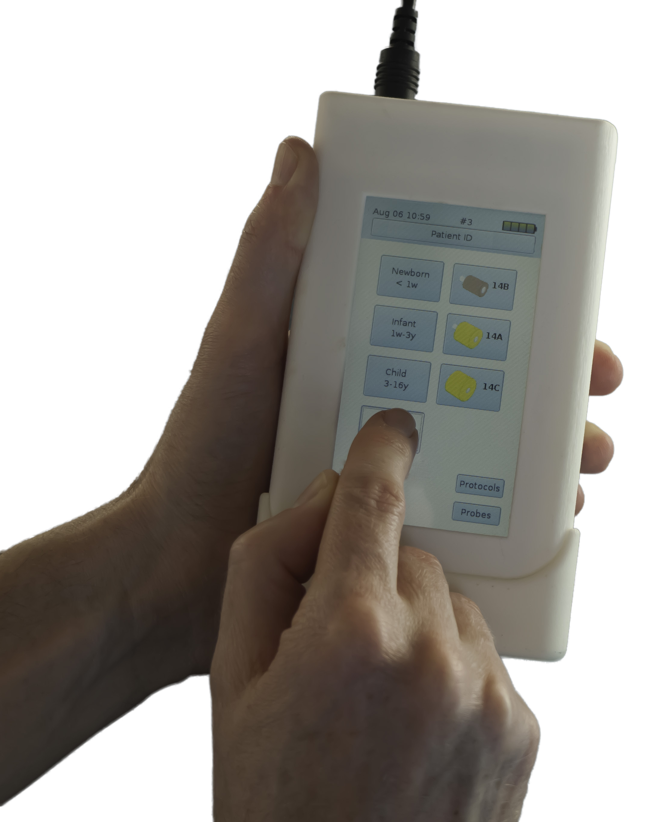 The handheld touchscreen OtoStat.